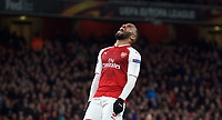 Alexandre Lacazette of Arsenal after a missed opportunity during the UEFA Europa League QF 1st leg match between Arsenal and CSKA Moscow  at the Emirates Stadium, London, England on 5 April 2018. Photo by Andrew Aleksiejczuk / PRiME Media Images.