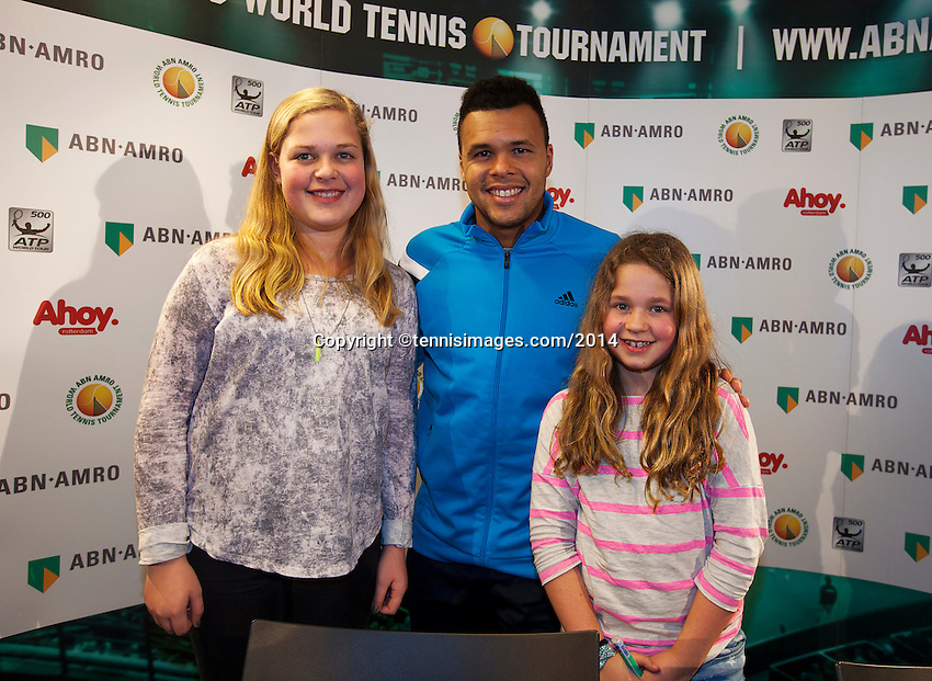 10-02-14, Netherlands,Rotterdam,Ahoy, ABNAMROWTT,, , Meet and Greet with Tsonga<br /> Photo:Tennisimages/Henk Koster
