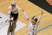 MIRIAM WELTE of Germany celebrates winning the Team Sprint event on day 1 of the 2012 UCI Track Cycling World Championships at Hisense Arena in Melbourne, Australia. Photo Sydney Low. Copyright Sydney Low. All rights reserved. No reproduction permitted. Access via FlickrAPI not permitted.