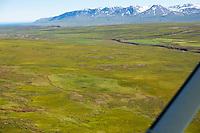 Rjúpnafell séð til austurs, Vesturárdalur,  Smjörfjöll í baksýni, VVopnafjarðarhreppur. /  Rjupnafell deserted farmsite in Vesturardalur, Smjorfjoll mountainrange in background. Viewing east. Vopnafjardarhreppur.