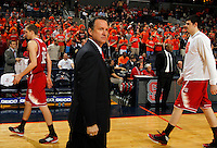 North Carolina State head coach Mark Gottfried stands on the court during the game against Virginia Saturday in Charlottesville, VA. Virginia defeated NC State 58-55.