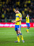 Solna 2013-11-19 Fotboll VM-kval Playoff , Sverige - Portugal :  <br /> Sverige Zlatan Ibrahimovic ser deppig ut efter matchen <br /> (Photo: Kenta J&ouml;nsson) Keywords:  Sweden Portugal depp besviken besvikelse sorg ledsen deppig nedst&auml;md uppgiven sad disappointment disappointed dejected