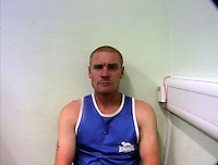 "Pictured: Police custody picture of Andrew Ballantyne<br /> Re: Three men have been jailed for posing as police in a car with blue flashing lights and kidnapping a businessman.<br /> Car valet Nathan Parry, 37, of Ellesmere Port, was described as the ""brains"" behind the offence and jailed for 12 years at Caernarfon Crown Court.<br /> Andrew Ballantyne, 36, and David Staff, 34, both from Chester, were ""willing lieutenants"" and each locked up for seven years.<br /> The 33-year-old victim was handcuffed in a stolen Audi in a four-hour ordeal."