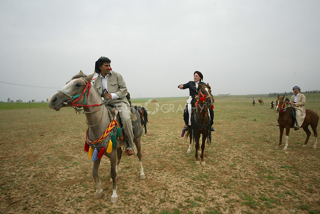 ERBIL, IRAQ: The groom arrives at a Kurdish wedding ceremony on horseback...Images from a traditional Kurdish wedding in Iraqi Kurdistan...Photo by Safin Hamid