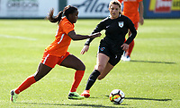 Portland, OR - Wednesday March 14, 2018: Nichelle Prince, Sofia Huerta during a National Women's Soccer League (NWSL) pre season match between the Houston Dash and the Chicago Red Stars at Merlo Field.