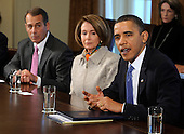United States President Barack Obama, right, makes remarks prior to a bipartisan meeting with Congressional leaders to discuss jobs and the economy, in the Cabinet Room of the White House, Tuesday, February 9, 2010, in Washington,D.C.  Attending, from left to right, U.S. House Republican Leader John Boehner (Republican of Ohio) and U.S. House Speaker Nancy Pelosi (Democrat of California), as the president urged a better working relationship between the parties.     .Credit: Mike Theiler / Pool via CNP