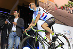 British National Champion Steve Cummings (GBR) Team Dimension Data on stage at the Team Presentation in Burgplatz Dusseldorf before the 104th edition of the Tour de France 2017, Dusseldorf, Germany. 29th June 2017.<br /> Picture: Eoin Clarke | Cyclefile<br /> <br /> <br /> All photos usage must carry mandatory copyright credit (&copy; Cyclefile | Eoin Clarke)