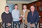 At the presentation of medals to the 2008 County Minor Champions at the Hillgrove Hotel on Fridaywhere - Fitzgerald receives presentation from Kerry Star Marc O'Se?.Breanda?n Fitzgerald (Bainisteoir), Alan Fitzgerald (Captaen), Marc O'Se?, Derry O?'Murchu? (Cathoirleach),