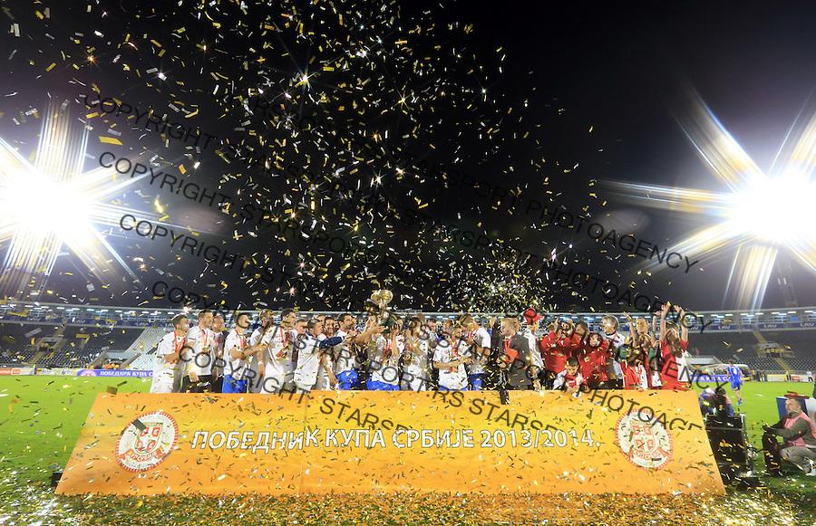 Fudbal Kup Srbije season 2013-2014<br /> Finale Kup-a<br /> Vojvodina v Jagodina<br /> FK Vojvodina celebrate trophy of Cup Serbia Igraci Vojvodine slave trofej pobedu u Kup-u Srbije<br /> Beograd, 05.07.2014.<br /> foto: Srdjan Stevanovic/Starsportphoto &copy;
