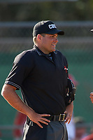 Umpire Zach Tieche during an Illinois State Redbirds game against the Ohio State Buckeyes on March 5, 2016 at North Charlotte Regional Park in Port Charlotte, Florida.  Illinois State defeated Ohio State 5-4.  (Mike Janes/Four Seam Images)