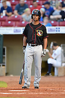 Quad Cities River Bandits outfielder James Ramsay (15) at bat during a game against the Cedar Rapids Kernels on August 19, 2014 at Perfect Game Field at Veterans Memorial Stadium in Cedar Rapids, Iowa.  Cedar Rapids defeated Quad Cities 5-3.  (Mike Janes/Four Seam Images)