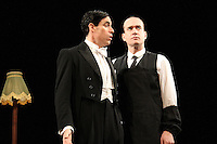 LONDON, ENGLAND - NOVEMBER 05: Stephen Mangan (as Bertie Wooster) &amp; Matthew Macfadyen (as Jeeves) star in 'Perfect Nonsense' at the Duke Of York's Theatre on November 5th 2013 in London, England.<br /> CAP/ROS<br /> &copy;Steve Ross/Capital Pictures