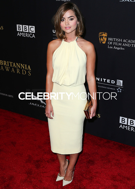 BEVERLY HILLS, CA, USA - OCTOBER 30: Jenna Coleman arrives at the 2014 BAFTA Los Angeles Jaguar Britannia Awards Presented By BBC America And United Airlines held at The Beverly Hilton Hotel on October 30, 2014 in Beverly Hills, California, United States. (Photo by Xavier Collin/Celebrity Monitor)