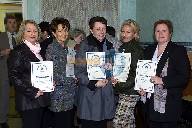 Claire Brennan, Ballsgrove, Kathleen harmon, Yellowbatter, Barbara Delaney, Yellowbatter, Tina Kearney Moneymore, who received there certificates from Minister Dermot Ahern TD in the Community services centre..Pic Fran Caffrey Newsfile