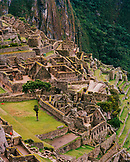 PERU, Machu Picchu, outh America, Latin America, high angle view of ruins at Machu Picchu.