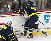 Zach Walker (BC - 14), Jonathan Lashyn (Merrimack - 7) - The visiting Merrimack College Warriors defeated the Boston College Eagles 6 - 3 (EN) on Friday, February 10, 2017, at Kelley Rink in Conte Forum in Chestnut Hill, Massachusetts.