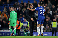 Chelsea Manager, Antonio Conte celebrates with Cesar Azpilicueta at the final whistle during Chelsea vs Manchester United, Premier League Football at Stamford Bridge on 5th November 2017