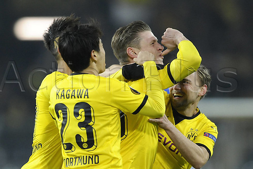 18.02.2016. Dortmund, Germany.  UEFA Europa League match at the Signal Iduna Park. Borussia Dortmund versus FC Porto.  Lukasz Piszczek (Borussia Dortmund) celebrates his goal