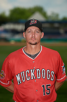 Batavia Muckdogs pitching coach Chad Rhoades (15) poses for a photo before a NY-Penn League game against the State College Spikes on July 3, 2019 at Dwyer Stadium in Batavia, New York.  State College defeated Batavia 6-4.  (Mike Janes/Four Seam Images)