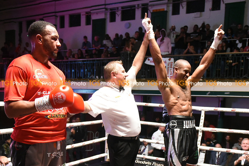 Deion Jumah (blue gloves) defeats Wadi Camacho during a Boxing Show at York Hall on 7th September 2019