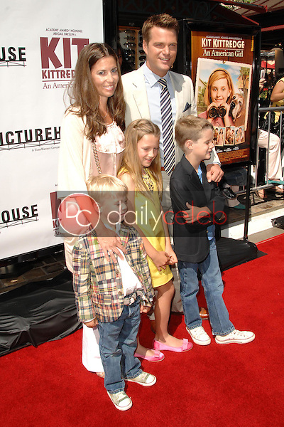 Chris O'Donnell, wife Caroline, daughter Lily, sons Charles and Christopher<br />