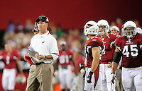 Aug. 22, 2009; Glendale, AZ, USA; Arizona Cardinals head coach Ken Whisenhunt against the San Diego Chargers during a preseason game at University of Phoenix Stadium. Mandatory Credit: Mark J. Rebilas-