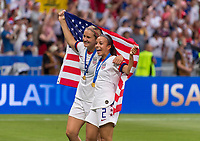 LYON,  - JULY 7: Lindsey Horan #9 and Mallory Pugh #2 celebrate during a game between Netherlands and USWNT at Stade de Lyon on July 7, 2019 in Lyon, France.