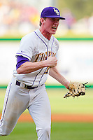 Relief pitcher Ryan Eades #37 of the LSU Tigers reacts after striking out a Wake Forest Demon Deacons batter to end an inning at Alex Box Stadium on February 19, 2011 in Baton Rouge, Louisiana.  The Tigers defeated the Demon Deacons 4-3.  Photo by Brian Westerholt / Four Seam Images