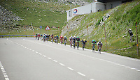 Peter Sagan (SVK/Tinkoff) leading the peloton from the highest point in the 2016 Tour; the Port d'Envalira (Cat1/2408m/22.6km at 5.5%)<br /> <br /> stage 10: Escaldes-Engordany (AND) - Revel (FR)<br /> 103rd Tour de France 2016