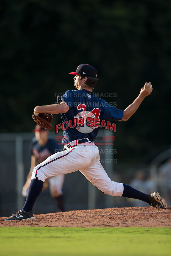 Danville Braves relief pitcher Taylor Cockrell (34) delivers a pitch to the plate against the Pulaski Yankees at American Legion Post 325 Field on July 31, 2016 in Danville, Virginia.  The Yankees defeated the Braves 8-3.  (Brian Westerholt/Four Seam Images)
