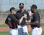 (L-R) Ichiro Suzuki, Giancarlo Stanton, Marcell Ozuna (Marlins),<br /> FEBRUARY 25, 2014 - MLB :<br /> Ichiro Suzuki of the Miami Marlins talks with teammates Marcell Ozuna and Giancarlo Stanton during the Miami Marlins spring training camp in Jupiter, Florida, United States. (Photo by AFLO)