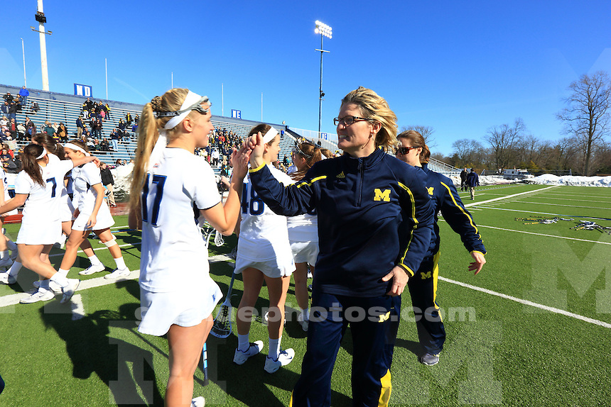 The University of Michigan women's lacrosse team loses its program-opening game to Villanova, 20-7, in Villanova, Penn., on Feb. 22, 2014.
