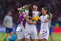 PARIS,  - JUNE 28: Ashlyn Harris #18, Alex Morgan #13 and Christen Press #23 celebrate during a game between France and USWNT at Parc des Princes on June 28, 2019 in Paris, France.