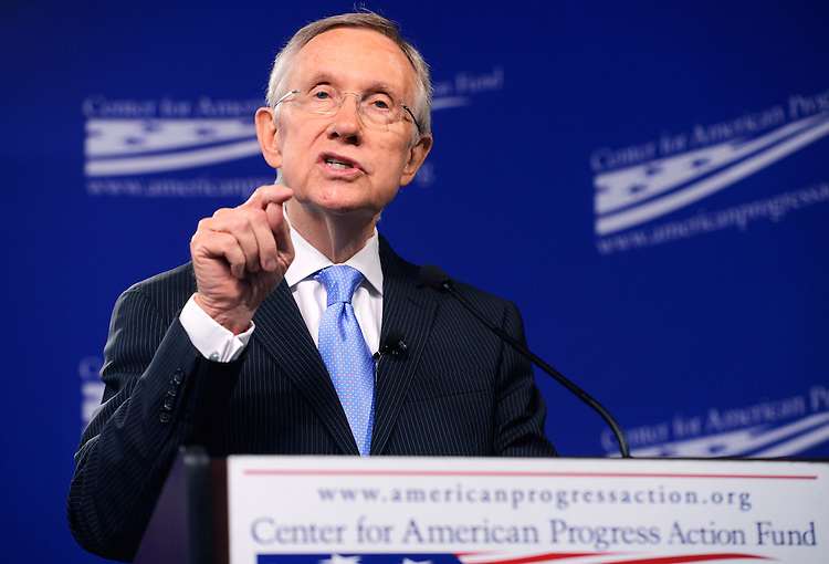"UNITED STATES - JULY 15: Senate Majority Leader Harry Reid, D-Nev., delivers an address at Center for American Progress titled ""Ending Senate Gridlock."" (Photo By Tom Williams/CQ Roll Call)"