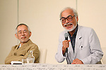 """(L ro R) Toshio Suzuki, Hayao Miyazaki, September 6, 2013, Tokyo, Japan: Director Hayao Miyazaki announces his retirement from the animation industry during a press conference in Tokyo, Japan. Miyazaki co-founded studio Ghibli in 1985, after working for Toei Animation. His first movie was  """"Laputa: Castle in the Sky"""" from 1986; since then he worked personally on 11 feature movies. His last movie """"The Wind Rises"""" (Jap: """"Kaze-tachinu"""") which is already a box office hit in Japan, was presented at Venice Film Festival last Sunday September 1st and will be screened worldwide. The movie, about the Japanese aircraft designer Jiro Horikoshi, who designed the Zero, the Japanese fighter plane used in World War Two, is already considered a masterpiece, as well as Miyazaki cultural testament. (Photo by Yusuke Nakanishi/AFLO)"""