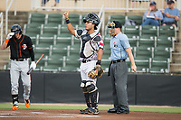 Kannapolis Intimidators catcher Daniel Gonzalez (30) lets his defense know there is one out during the game against the Delmarva Shorebirds at Kannapolis Intimidators Stadium on June 30, 2017 in Kannapolis, North Carolina.  The Shorebirds defeated the Intimidators 6-4.  (Brian Westerholt/Four Seam Images)