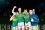 L-R Sean O'Connell, Sean Quillter, Darragh Lyne and Dylan Geaney celebrate at the final whistle after defeating Cork in the Eirgrid Munster Football Final last Wednesday night march 4 at austin Stack park, Tralee.