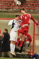 November 14, 2008: University of Michigan's Jake Stacy (#6) and Indiana Univeristy's John Mellencamp (#8) make contact while both trying to head the ball during the second round of the 2008 Big Ten Tournament in Madison Wisconsin..