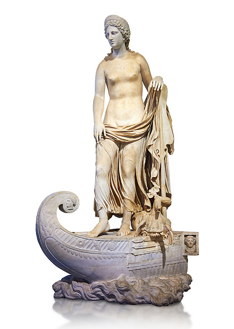 Statue of Thetsis - a 2nd century AD Roman statue found in the city of Lavinia, Italy. Thetis is encountered in Greek mythology mostly as a sea nymph or known as the goddess of water, one of the fifty Nereids, daughters of the ancient sea god Nereus. he statue belonged to a set of ten divinities formerly presented in the portico hemicycle of the city. The Albani Collection Inv No. LL 19 (Usual No Ma 2244), Louvre Museum, Paris.