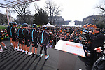 Team Sky at sign on before the start of the 108th edition of Milan-San Remo 2017 by NamedSport the first Classic Monument of the season running 291km from Milan to San Remo, Italy. 18th March 2017.<br /> Picture: La Presse/Gian Mattia D'Alberto | Cyclefile<br /> <br /> <br /> All photos usage must carry mandatory copyright credit (&copy; Cyclefile | La Presse)