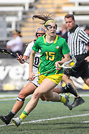 Towson, MD - March 25, 2017: Oregon Ducks Jill Zubillaga (15) in action during game between Towson and Oregon at  Minnegan Field at Johnny Unitas Stadium  in Towson, MD. March 25, 2017.  (Photo by Elliott Brown/Media Images International)
