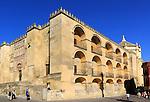 Symmetrical pattern balconies historic Great Mosque Mezquita complex of buildings, Cordoba, Spain