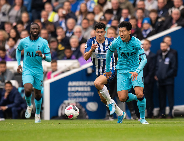 Tottenham Hotspur's Son Heung-Min (right) under pressure from Brighton & Hove Albion's Steven Alzate (left) <br /> <br /> Photographer David Horton/CameraSport<br /> <br /> The Premier League - Brighton and Hove Albion v Tottenham Hotspur - Saturday 5th October 2019 - The Amex Stadium - Brighton<br /> <br /> World Copyright © 2019 CameraSport. All rights reserved. 43 Linden Ave. Countesthorpe. Leicester. England. LE8 5PG - Tel: +44 (0) 116 277 4147 - admin@camerasport.com - www.camerasport.com