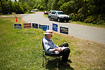 May 6, 2008. Bynum, NC.. With the close North Carolina primary battle between Senators Hillary Clinton and Barack Obama, voters hit the polls to try and bring closure to this highly contested state and divide the delegates between the 2 candidates.. Karl Kachergis, the Chatham Co. Democratic Party leader, waits for voters outside a polling station, hoping to persuade them to vote for Senator Obama with a sample ballot.