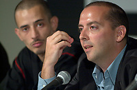 Denis Chouinard(R)  director of Tar Angel (Ange de Goudron) the opening movie of the 25th World Film Festival  speak at a press coference on the firts day of the Festival<br /> august 23rd , 2001l in Montreal, CANADA.<br /> while actor Rabah Ait (L) listen<br /> <br /> <br /> <br /> NOTE : Nikon D-1 JPEG opened with QUIMAGE ICC profile , saved as Adobe RG 1998 color space.