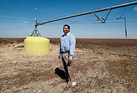Ramon Vela (cq), also known as Noon (cq) at his cotton farm near Spearman, Texas, Tuesday, February 15, 2011. With the high price of cotton in recent years, many farmers in the area have switched to start farming cotton...Photo by Matt Nager
