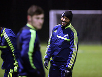 Team captain Ashley Williams (R) of Swansea training