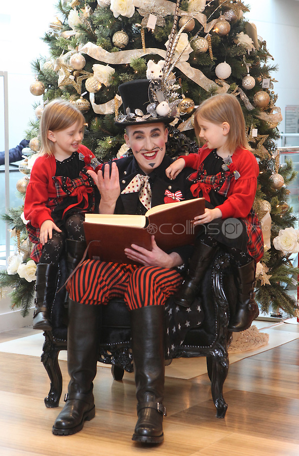 11/11/2010.Mythical Storyteller Pat Kinevane.twins Amy & Eva Campbell (5).at the official countdown to the unveiling of Brown Thomas's Christmas windows on Grafton street, Dublin..Photo: Gareth Chaney Collins