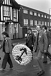 Blair Peach funeral. Southall west London 1979.The anti nazi league floral tribute.