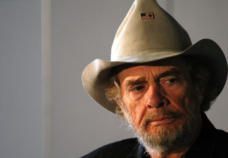"merle2/052803 - Country singer Merle Haggard at the Smithsonian Museum of American History. He and his sister Liilian were there to donate family items from the Depression era for the Route 66 part of a new exhibit opening in November called  ""America On The Move."""
